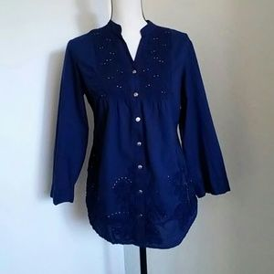 REBA | Navy Blue Embellished Button Down Shirt